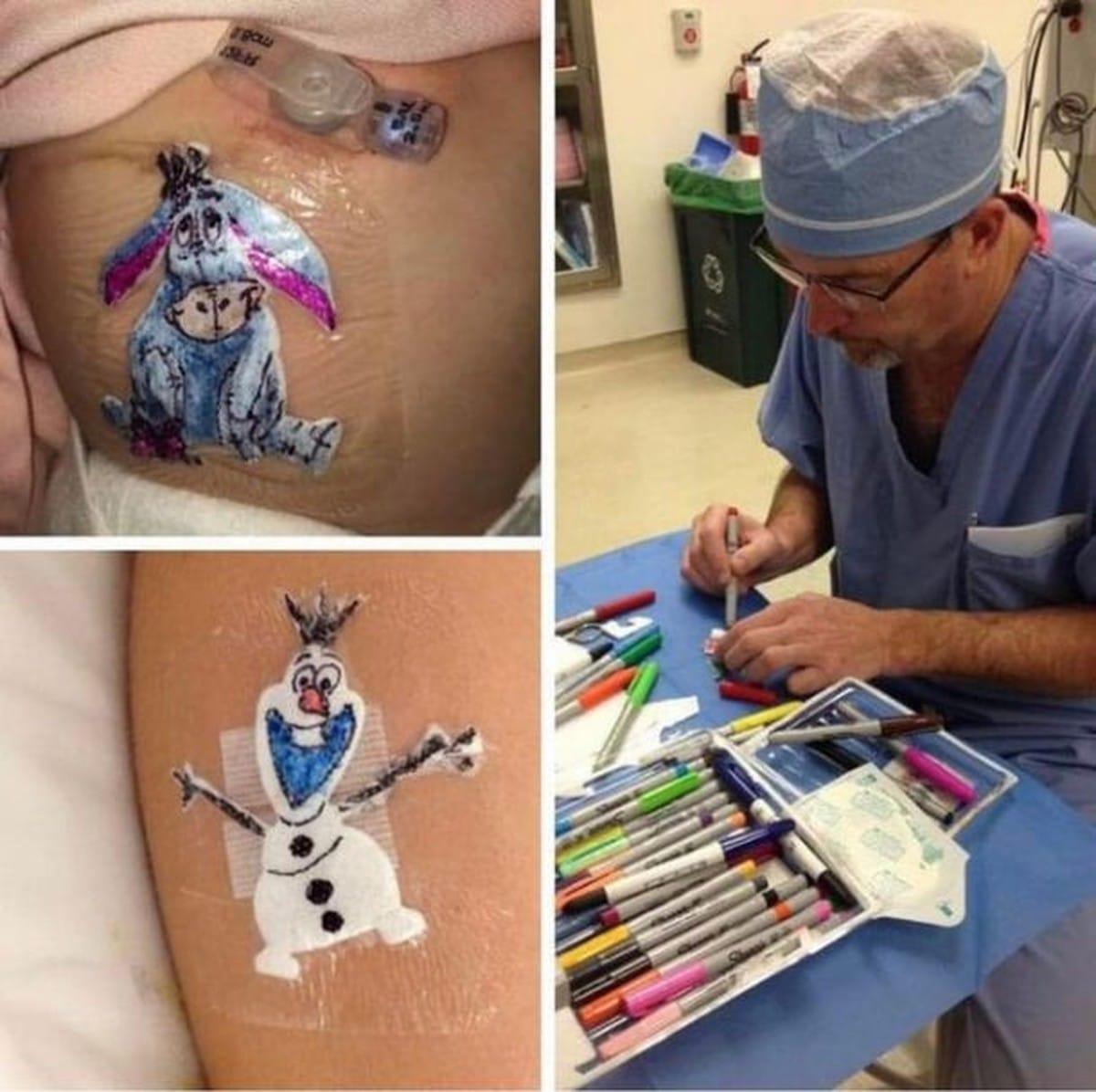 Il dottore che disegna una medicazione diversa per ogni piccolo paziente
